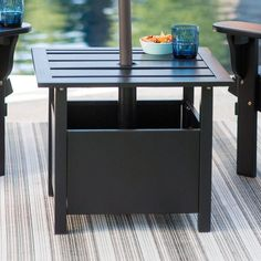 Belham Living Steel Square Umbrella Side Table With Slat Top
