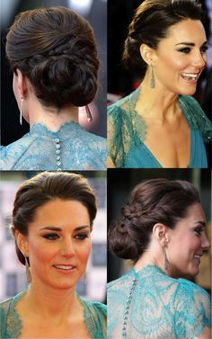 too straight for me, but so pretty....Kate Middleton - would be super cute for wedding hair!