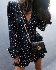 polka dot dress, styling dress for fall, fall style, fall fashion, street style, Gucci bag