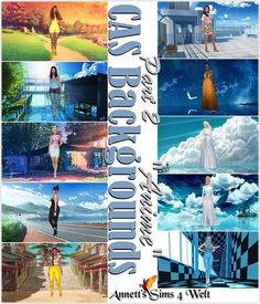 CAS Backgrounds Anime Part 2 at Annett's Sims 4 Welt Sky Clothing, Sims 4 Clothing, The Sims, Sims Cc, Sims 4 Cas Background, Sims Games, Sims 4 Update, Sims Mods, Backgrounds