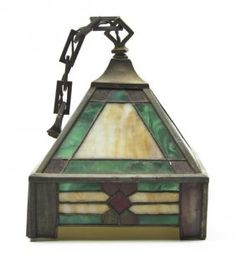 Arts and Crafts Style Leaded Fixture