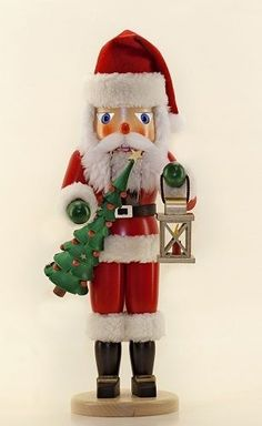 Santa with Tree and Lantern German Wooden Christmas Nutcracker Made in Germany