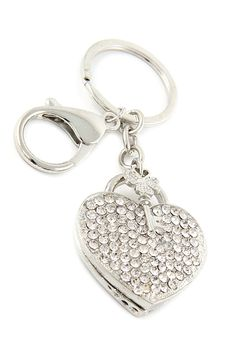 $9.99 Get this to fill your Christmas stockings! #silver #heart #key #locket #rhinestone #stockingstuffer #gift #present #keychain #keyfob #keycharm #charms #keyring #accessories #holiday
