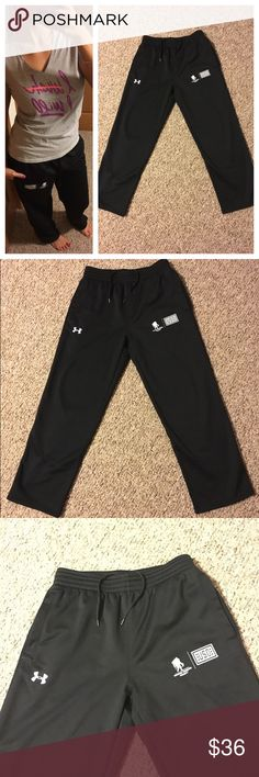 Under Armour Wounded Warrior Project pants  Same day shipping (excluding Sun/holidays or orders placed after P.O. Closed)  10% off of 2+ bundles  ❓Please ask any questions prior to buying. I want you to be % Happy❣  Material/size tag has been removed but these are sweat pants material on the inside and storm-dri feeling outside. These are in excellent condition. Smoke/pet free home. I had added my measurements for reference. These could fit M or L because they have a draw string. In photo I…