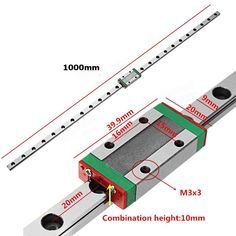 Cheap 1 metre slide rail and bearing for gantry. Machifit 1000mm MGN9 Linear Guide Linear Rail Guide with MGN9H Linear Rail Block CNC Tool