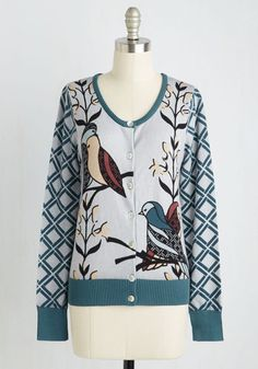 Birds of Affection Cardigan - Green, Blue, Print with Animals, Print, Casual, Critters, Bird, Long Sleeve, Fall, Knit, Better, Mid-length, Cotton