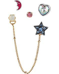 STAR HEART 5 STUD SET MULTI accessories jewelry earrings fashion