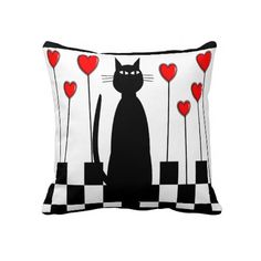 Whimsical Black Cat and Hearts Pillow http://www.zazzle.com/whimsical_black_cat_and_hearts_pillow-189291474743667251?rf=238282136580680600