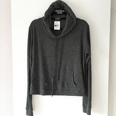 "BNWT gray ribbed robin hoodie 23"" in length, fuzzy material Brandy Melville Tops Sweatshirts & Hoodies"