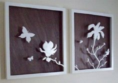 Silhouette shadow box idea: use vinyl decals with wrapping paper (for large frames) or scrapbook paper