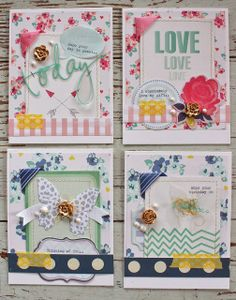 Today I'm back to share some cards I made using mostly items from the Gossamer Blue November Add-on Kit . When I first opened this kit . Atc Cards, Journal Cards, Card Tags, Paper Cards, Greeting Cards, Card Making Inspiration, Making Ideas, Layout Inspiration, Life Inspiration