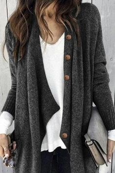 Ellafancy Long Sleeve 1 Gray Blue Black Light Gray Women Tops Cotton-Blend Shawl Collar Casual Buttoned Date Tops – ellafancy Long Shrug, Cardigan Long, Knit Cardigan, Loose Knit Sweaters, Women's Sweaters, Mode Outfits, Fall Outfits, Casual Outfits, Gray Outfits