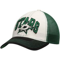 best loved a1a37 faa7b Men s Reebok White Green Dallas Stars Face-Off Slouch Flex Hat