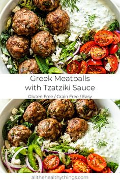 Greek Meatballs with Tzatziki Sauce - This recipe for flavorful juicy Greek meatballs filled with fresh herbs is a quick and easy recipe t - Meat Recipes, Vegetarian Recipes, Dinner Recipes, Cooking Recipes, Healthy Greek Recipes, Easy Greek Recipe, Oven Recipes, Vegetarian Cooking, Easy Cooking