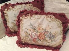 VINTAGE PETIT POINT NEEDLEPOINT CUSHION COVERS
