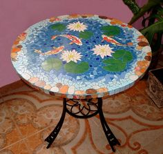 fishes mosaic table
