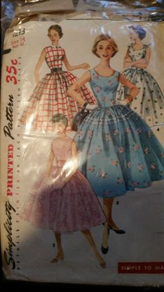 1950s Simplicity Vintage Sewing Pattern Rockabilly Dress Full Skirt Bust 32 !!