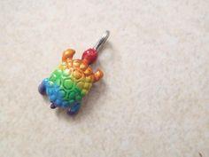 rainbow turtle charm pendant tortue gay lesbian lgbt lesbic
