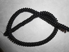"15.5"" strand NATURAL BLACK OBSIDIAN matte 8x3mm Rondelle STONE BEADS"
