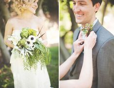 Bouquet with anemones, feathers and ferns - love!