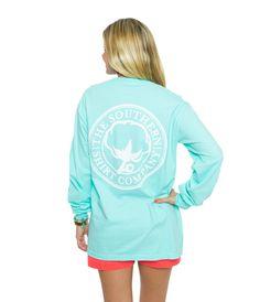 Seaside Logo Tee L/s | Ocean Blue | The Southern Shirt Company