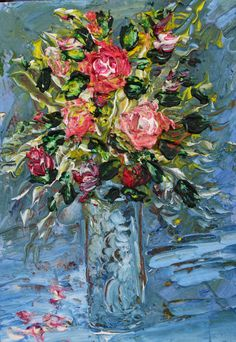 Painting Still Life bouquet of flowers.