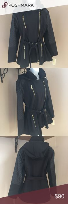 """Michael Kors Asymmetrical Trench Coat NWT Asymmetrical zipper closure front, wing collar and removable hood and belt. Zipper pockets at hips and chest. Water resistant, quilted sleeves. Mid weight, machine washable, length is 27.5"""", hits at low hip. Michael Kors Jackets & Coats Trench Coats"""