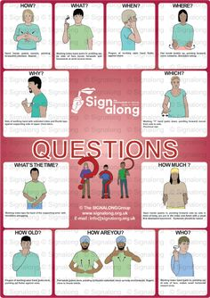 Questions Poster, J) Posters, Signalong Store Sign Language Book, Sign Language Chart, Sign Language Phrases, Sign Language Alphabet, Learn Sign Language, British Sign Language, Kids Sleep, Child Sleep, Baby Sleep