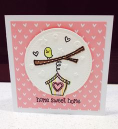 New home card created with Lawn Fawn's home sweet home stamp and coordinating die set