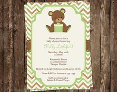 Teddy Bear Baby Shower Invitations, Boys, Girls, Chevron Stripes, Green, Brown, Set of 10 Printed Invites, Free Shipping, CHVTD
