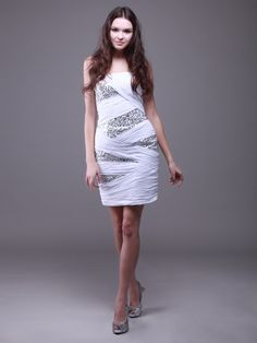 Strapless Chiffon and Silver Sequin Bodycon Little White Dress