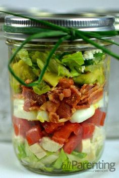 Cobb Mason jar salad. I made Mason jar salads for the first time yesterday.  Think I'll try the Cobb next time... this looks soooo good!