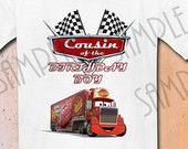 T-shirt Disney Cars Party Ideas Custom Iron On Transfer Printable Birthday Boy Cousin Cars Aplique digital download Personalized Pixar