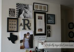 wall collage.  Crazy how this fits us just perfect :) with the letters and the state  must have In our new home