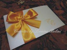 Convite de casamento Branco e Dourado