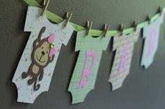 Monkey Baby Shower Banner pick your color theme por calladoo, $18.00