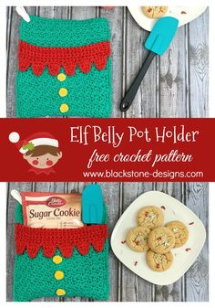 Elf Belly Pot Holder free crochet pattern from Blackstone Designs  #Crochet #Freecrochetpattern #Christmas #elf #christmaself #potholder #hotpad #DIYpotholder #christmasgift #teachergift #coworkergift #neighborgift #crochetpotholder #kitchen #elfcrafts #forthekitchen #fortheholidays #forchristmas