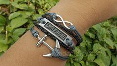 Anchor Bracelets, Best Friend Bracelets, Unlimited Bracelets, Gray And Black, Leather Bracelets, Fri from Picsity.com
