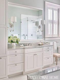 Small Bathroom Decor Ideas for a Stylish Small Bathroom Design Bathroom Renos, Bathroom Renovations, Bathroom Wall, Small Bathroom, Bathroom Vanities, Serene Bathroom, White Bathroom Cabinets, Brown Bathroom, Bathroom Fixtures