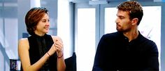 Insurgent Google chat: Theo scrunching his nose ans Shai lauging with her shoulders going up #cuties