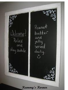 Chalkboard from old window idea only