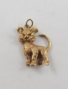 Grumpy Cat 10K Gold Vintage Charm For Bracelet by SilverHillz