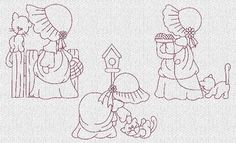 sunbonnet sue embroidery patterns | Sunbonnet Sue and Kitties Redwork Machine Embroidery Designs ...