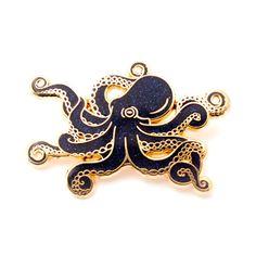 Glitter Octopus Enamel Pin