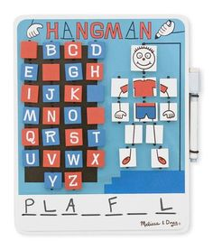 A classic word game with a twist! Kids will love thinking up words to stump their opponent, or taking their best guess to win it all! Includes one Hangman game board with erasable whiteboard, self-sto