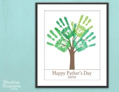 Fathers Day Gift DIY Child's Handprint Tree by PERSONALIZEDprints