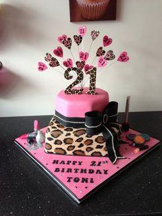 leopard print pink bling cake