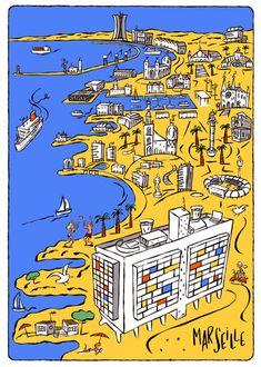 Marseille Philippe Doro Plus Le Corbusier, Sweat Hoodie, Sweatshirt, Illustration Sketches, Illustrations, Maps Design, Harajuku, Marseille France, Cities