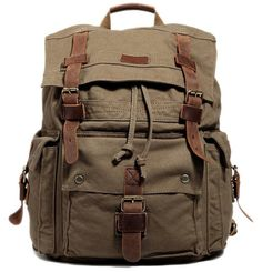 00a9ea8067a9 Large Olive Surplus Hiking Canvas Backpack with Leather Straps
