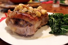 Thick pork chops are stuffed with an apple-bacon sauce.